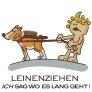 shop grafik illustration hund leinenziehen rgb mit text